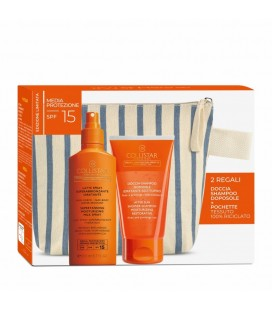 Collistar Kit Solare Latte Spray Superabbronzante idratante SPF 15 200 ml + Doccia Shampoo Doposole 150 ml + pochette